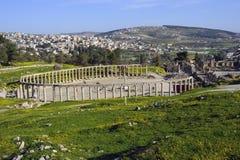 O quadrado oval em Jerash. Jordão Fotografia de Stock