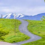 O quadrado pavimentou caminhos em um monte coberto com as gramas verdes vibrantes foto de stock royalty free