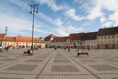O quadrado principal em Sibiu, Romania Foto de Stock Royalty Free