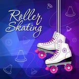 O quadrilátero patina clássico Patins de rolo que penduram nos laços Fundo do esporte Ilustração do vetor Fotos de Stock