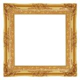 O quadro antigo do ouro no fundo branco imagens de stock royalty free