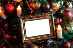 O quadro da foto no Natal decorou o fundo Foto de Stock