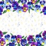 O quadro da música com verão e mola floresce, notas Ilustração tirada mão da aguarela ilustração stock