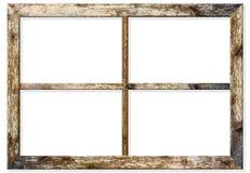 O quadro de janela de madeira muito envelhecido com pintura rachada nele, montou em uma parede do grunge fotos de stock royalty free