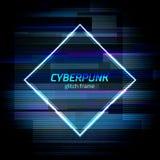 O quadro do Cyberpunk do pulso aleatório com erro da tecnologia e o néon dão forma Ilustração Stock