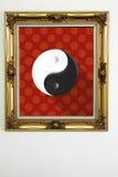 O quadro do ouro do quadro detalha o yin yang Foto de Stock Royalty Free