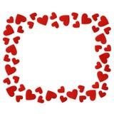 O quadro do vermelho sentiu os corações isolados no fundo branco Fotos de Stock Royalty Free