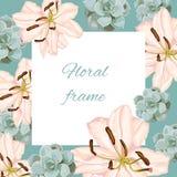 O quadro do vetor do vintage com mola do verão floresce nas cores pastel Foto de Stock Royalty Free