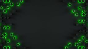 O quadro dos haxagons verdes de incandescência 3D abstrato rende Foto de Stock