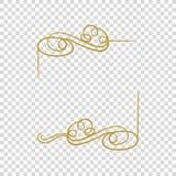 O quadro dourado do vetor isolou-se, beira vazia, fonte caligráfica filigrana ilustração stock