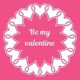 """O quadro ircular do ¡ de Ð dos corações e do texto entrelaçados """"seja meu valentine"""" Imagem de Stock Royalty Free"""