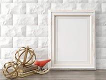 O quadro moderno vazio do estilo, 3D rende Fotos de Stock