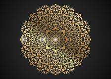 O quadro redondo decorativo do ouro para o projeto com laser cortou o ornamento Mandala dourada luxuosa do círculo Um molde para  ilustração royalty free