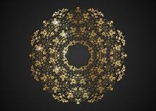 O quadro redondo decorativo do ouro para o projeto com laser cortou o ornamento Mandala dourada luxuosa do círculo Um molde para  ilustração stock