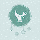 O quadro redondo do Natal e do ano novo com cervos dirige o símbolo ano novo feliz 2007 Imagem de Stock