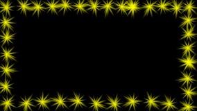 O quadro video animado com piscamento amarelo stars na borda Quadro vazio para próprio texto, título, anúncio, ilustração royalty free