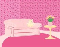 O quarto cor-de-rosa da menina com sofá cor-de-rosa e peluche-carrega Imagens de Stock Royalty Free