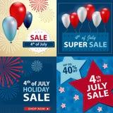 O quarto de bandeiras da venda de julho ajustou-se, vector Imagens de Stock