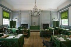 O quarto de conjunto onde a declaração de independência e a constituição dos E S A constituição foi assinada na independência Sal fotografia de stock royalty free