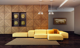 O quarto luxuoso 3d da sala de estar rende Imagens de Stock