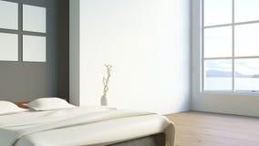 O quarto moderno do sótão/3d rende a imagem imagem de stock royalty free