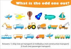 O que é impar para fora para crianças, transporte no estilo dos desenhos animados, jogo para crianças, atividade pré-escolar da e ilustração stock