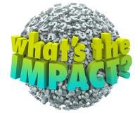 O que é o resultado Outcom da consequência do efeito dos pontos de interrogação do impacto ilustração do vetor