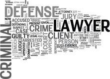 O que é um advogado de defesa criminosa Word Cloud ilustração royalty free