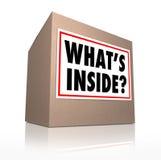 O que é caixa interna do mistério da entrega da caixa de cartão Imagem de Stock