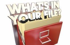 O que está em seus dados das informações pessoais do arquivo privados Imagens de Stock Royalty Free