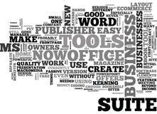 O que faz a nuvem da palavra dos proprietários empresariais da Senhora Office Suite Offer Fotografia de Stock