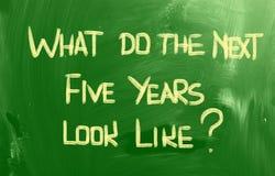O que fazem os próximos cinco anos olham como o conceito Fotografia de Stock