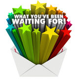 O que você tem esperado palavras das estrelas do envelope Imagem de Stock