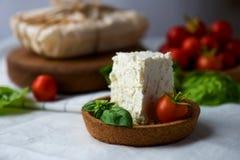 O queijo caseiro da ricota com cereja-tomates e manjericão sae em uns pires da cortiça Foto de Stock Royalty Free