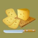 O queijo cortou em pedaços Fotografia de Stock Royalty Free