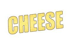 O queijo da palavra com uma textura de queijo ilustração 3D ilustração stock