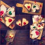 O queijo da pimenta da colagem imprensa o coração de madeira Valenti da tabela do amor Imagens de Stock