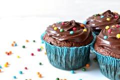 O queque caseiro do chocolate com polvilha Fotos de Stock
