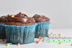 O queque caseiro do chocolate com polvilha Imagens de Stock