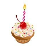 O queque do aniversário com creme, cereja, polvilha e vela Ilustração do vetor Foto de Stock