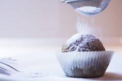 O queque do inverno consegue espalhar com açúcar fotografia de stock