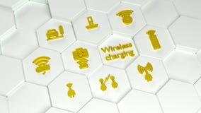 O rádio que carrega ícones dourados no hexágono branco eleva-se ilustração royalty free