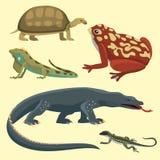 O réptil e a fauna colorida anfíbia vector animais predadores dos répteis do reptiloid da ilustração ilustração do vetor