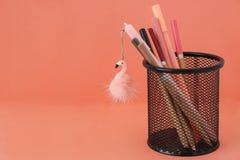 o r 与火鸟玩具和铅笔的笔在珊瑚色的背景的篮子与赠送阅本 免版税库存图片