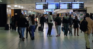 O.R. Tambo International Airport Johannesburg South Africa. Johannesburg South Africa - unidentified arriving and departing passengers walk in the O.R. Tambo Stock Images