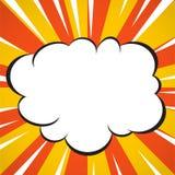 O radial amarelo e branco do estilo do pop art da nuvem da explosão do super-herói da banda desenhada alinha o fundo Imagens de Stock Royalty Free