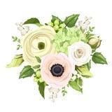 O ramalhete com aumentou, anêmona, ranúnculo, lírio do vale e flores da hortênsia Ilustração do vetor Fotografia de Stock