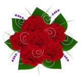 O ramalhete com peônias e alfazema vermelhas floresce com folhas verdes Fotos de Stock
