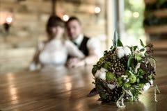O ramalhete da noiva dos cones e do algodão Fotos de Stock