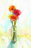 O ramalhete da pintura a óleo do gerbera amarelo e vermelho floresce no vidro Imagens de Stock